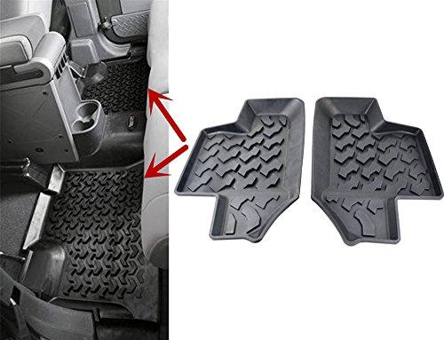 Rear Carpet Set (AVOMAR Black All-Weather Rubber Rear Row Floor Mats Liner Carpets for 2007-2017 Jeep Wrangler JK 2-Door)