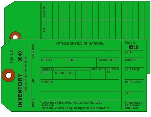 Inventory Tags, 1-Ply w/Tear off numbered Stub, Dk Green, 2 Sided, Box of 500, Plain, Sequence per factory