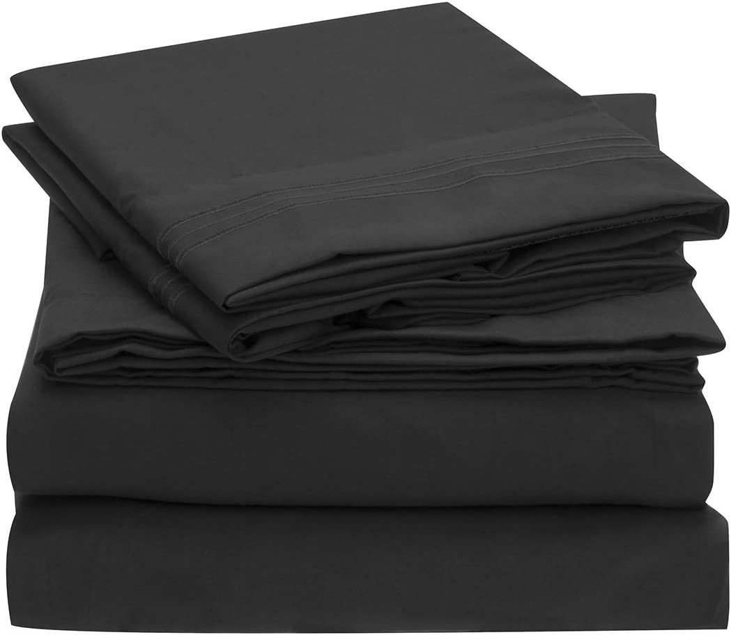 Mellanni Sheet Set Brushed Microfiber 1800 Bedding-Wrinkle Fade, Stain Resistant - Hypoallergenic - 3 Piece (Twin, Black),