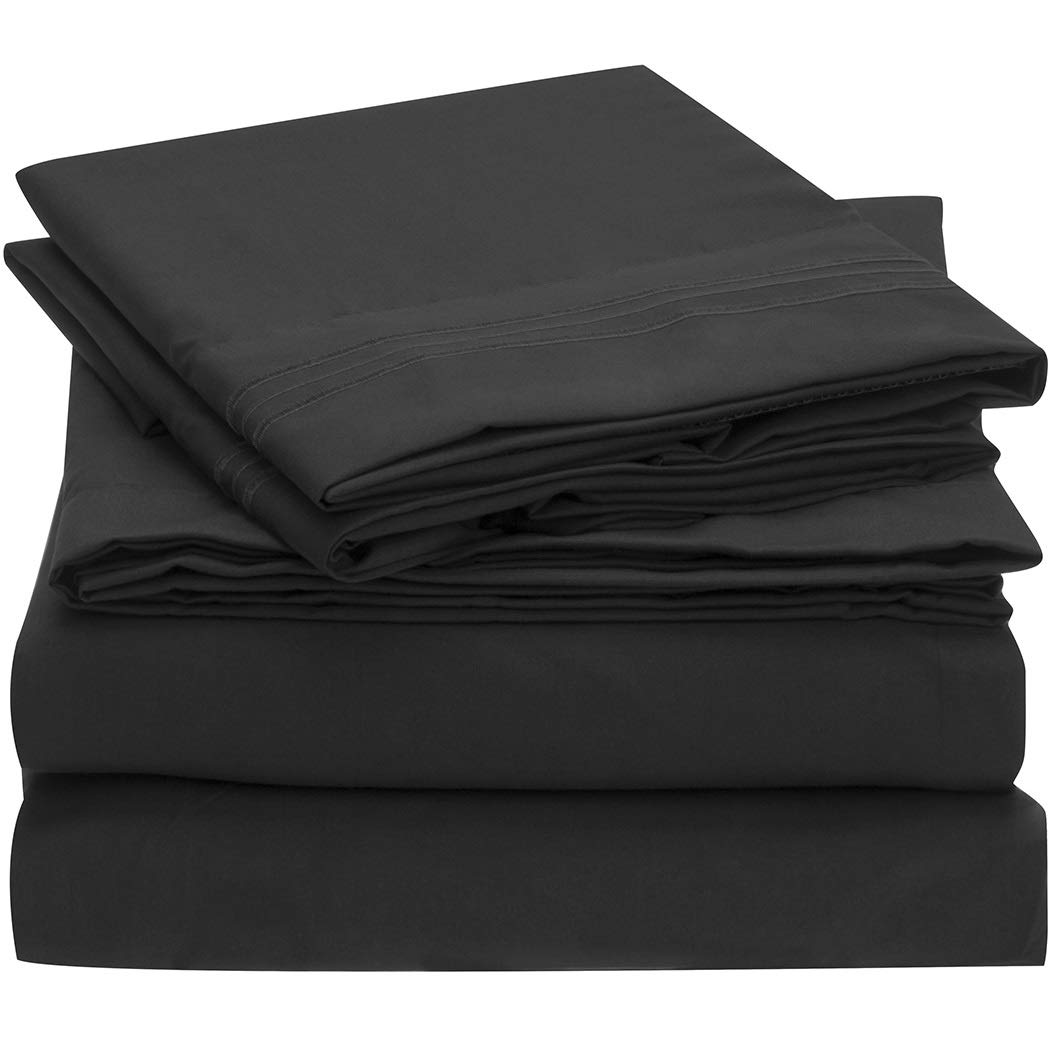 Mellanni Sheet Set-Brushed Microfiber 1800 Bedding-Wrinkle Fade, Stain Resistant - Hypoallergenic - 4 Piece (King, Black),