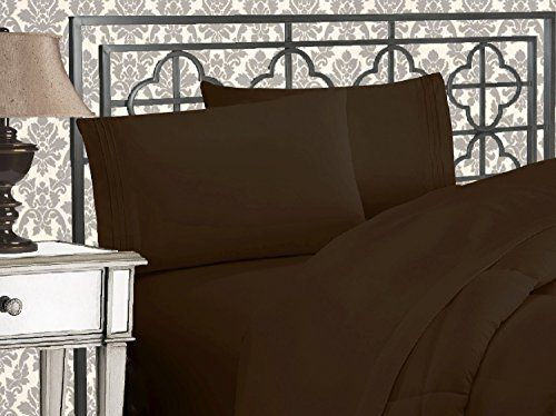 Elegant Comfort Luxurious & Softest 1500 Thread Count Egyptian Three Line Embroidered Softest Premium Hotel Quality 4-Piece Bed Sheet Set, Wrinkle and Fade Resistant, Queen, Chocolate Brown (Bed Queen Chocolate)