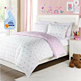 LaLa + Bash Lavender Hearts 2-Piece Twin Kids Bedding Reversible Comforter Set with Fabric Refresher