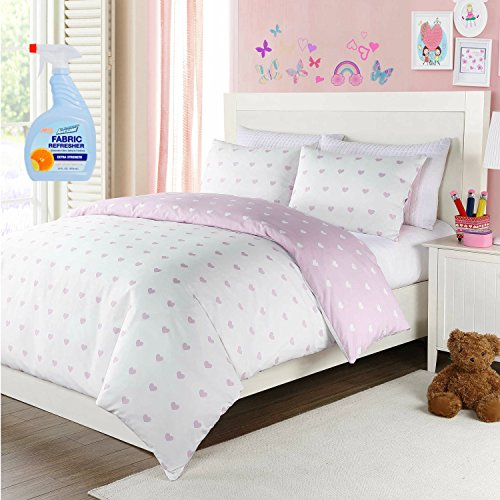 LaLa + Bash Lavender Hearts 2-Piece Twin Kids Bedding Reversible Comforter Set with Fabric Refresher by LaLa + Bash