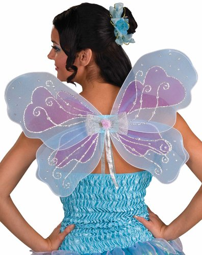 Forum Novelties Fantasy Fairy Wings, Blue Green and Pink (Fairy Godmother Costume For Adults)