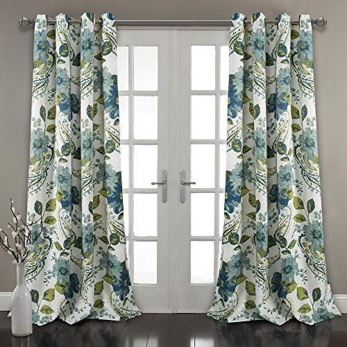 Lush Decor Floral Paisley Window Curtain Panel Pair, 84 x 52 , Blue Blue, 84 x 52 2 Pairs