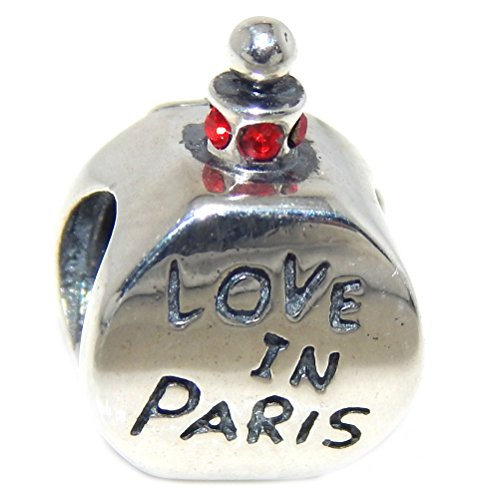 Pro Jewelry 925 Solid Sterling Silver 'Love in Paris' Perfume Bottle with Red Crystals Charm Bead