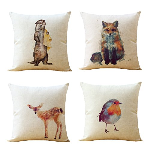 Pc Just (WOMHOPE 4 Pcs [Just Covers] - Animal Watercolor Patern Cotton Linen Pillow Covers Throw Covers Square Cushion Pillowcase Decorative Pillow Shams (Animal all (Set of 4 pcs)))