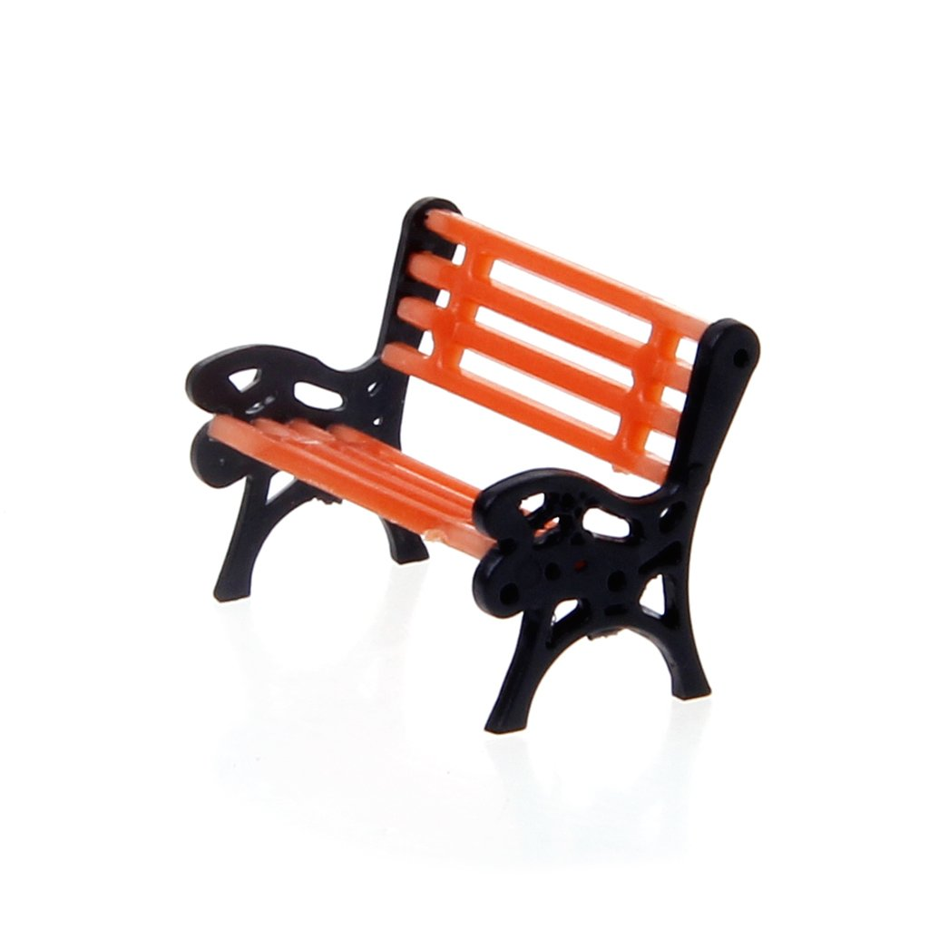 Xuniu 10 Stück Stühle Modell, Street Seats Bank Modellbahn Plattform Layout Sofa