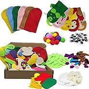 EFAILY 6Pcs Hand Puppet Making Kit for Kids Craft Felt Sock Puppet Making Set for Boys Girls Making Your Own P