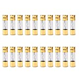 Areyourshop 20Pcs AGU Fuse Car Audio Power Safety Protection Glass Tube Gold Plated 15A