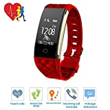 TechCode Customized Activity Tracker, Smart Bluetooth Watch Wristband Sports Tracker Heart Rate Monitor Step Counter Pedometer with Slim Replacement Band Fit iOS&Android for Kids/Women/Men(Red)