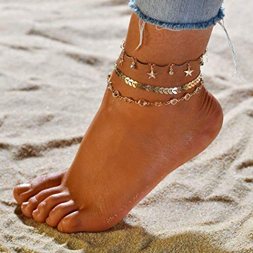 Edary Beach Layered Anklet Tassel Crystal Ankle Bracelet Gold Foot Jewelry for Women and Girls (3PCS/Set) (Style3)