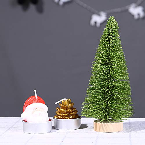 Livoty Christmas Decoration Christmas Tree Mini Pine Tree with Wood Base DIY Crafts Home Table Decor (Green, 7.8inch) by Livotyy (Image #1)