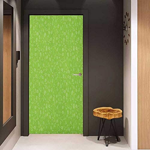 - Onefzc Soliciting Sticker for Door Green Doodle Style Tulip Flowers with Swirled Twigs and Leaves Blossoming Nature Mural Wallpaper W17.1 x H78.7 Lime Green White