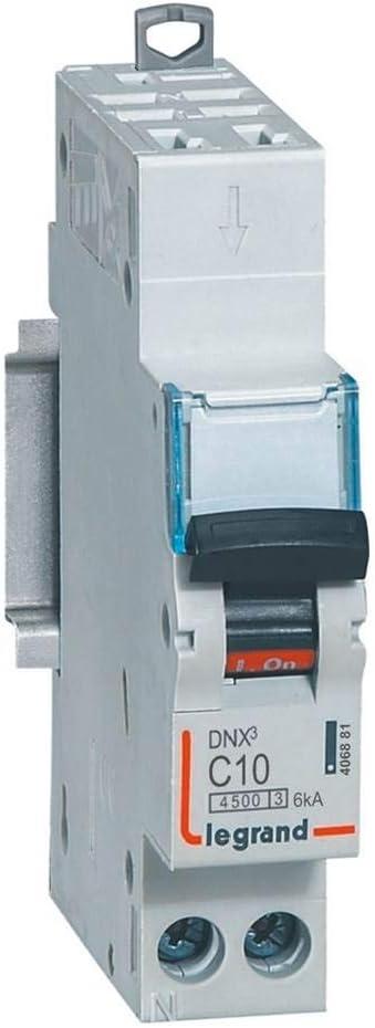 Disjoncteur DX/³ 4500-6 kA courbe C 1 module 10 A Legrand Connexion auto // vis