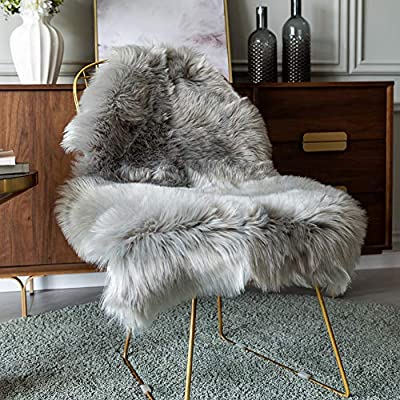 Carvapet Luxury Soft Faux Sheepskin Chair Cover Seat Pad Plush Fur Area Rugs for Bedroom, 2ft x 3ft,Grey - Ideal as your favorite armchair cover or area rug. Great for any age, from children to the elderly Size : Approx. 26 in. x 37 in. on the fur size, 2.5-Inch-thick pile. A must have accent in your home / office Material: Front side: Artificial Animal Wool; Back side: Soft Ivory Suede backing. - living-room-soft-furnishings, living-room, area-rugs - 51FKywXbk9L. SS400  -