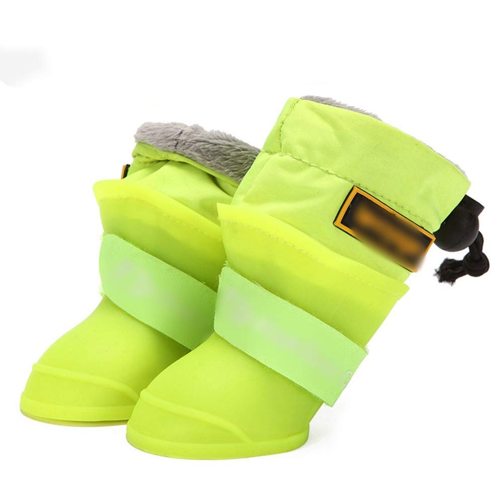 Green M Green M AUSWIEI Dog shoes Waterproof Rain Boots Pet Rain Boots Small Dog Silicone Pet Rain Boots Non-Slip Waterproof shoes (color   Green, Size   M)