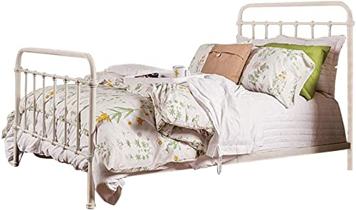 Benjara Benzara Sophisticated Metal Queen Bed, White,