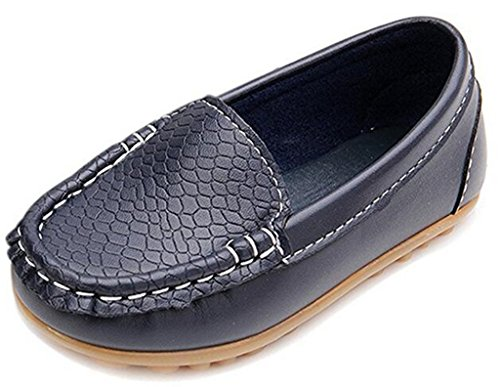 DADAWEN Boy's Girl's Soft Synthetic Leather Loafers Slip On Boat Dress Shoes/Sneakers/Flats Dark Blue US Size 7.5 M (Soft Kid Leather)