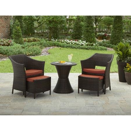 5-Piece Dining Sets | Better Homes and Gardens Mira Bay Patio Furniture Table and Ottoman with 2 Chairs (Rated Furniture Patio Best Sets)