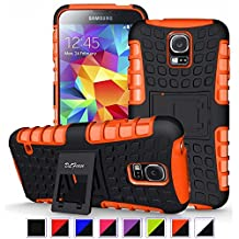S5 Case ,Galaxy S5 Case, DLF Case [ Shockproof ] Samsung Galaxy S5 Case Heavy Duty Rugged Dual Layer TPU Textured Non Slip Reinforced Polycarbonate Hybrid Case for Samsung Galaxy S5 with Kickstand and Free Screen Protector (Black+Orange)