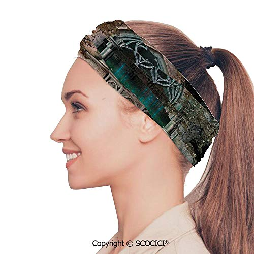 SCOCICI Stretch Soft and Comfortable W9.4xL18.9in Headscarf Headbands Mystical Patio with Enchanted Wishing Well Ivy on Antique Gateway to Magical Forest,Grey Teal Perfect for Running, Working Out, ()