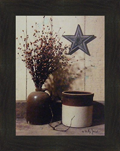 Primitive Framed Art (Crocks and Star by Billy Jacobs 16x20 Antique Jug Still Life Country Primitive Folk Art Print Wall Décor Framed Picture (2