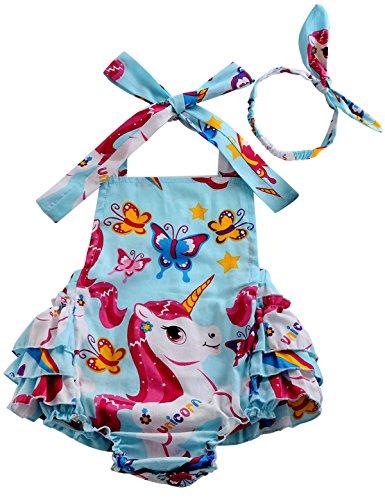 Fubin Baby Girl's Floral Print Ruffles Romper Summer Clothes With Headband,Unicorn Flower1,7-12 months Cute Diaper Shirt
