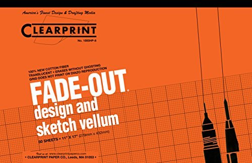Clearprint 1000H Design Vellum Pad with Printed Fade-Out 8x8 Grid, 16 lb, 100% Cotton, 11 x 17 Inches, 50 Sheets, Translucent White, 1 Each ()