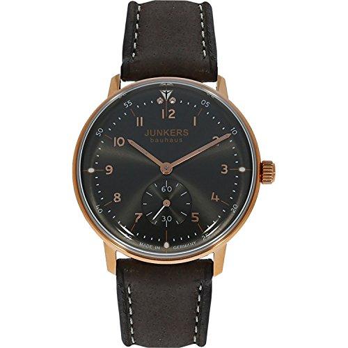 Junkers Bauhaus Lady Quartz Watch, PVD Rose Gold, Anthracite, 36 mm, 6037-2