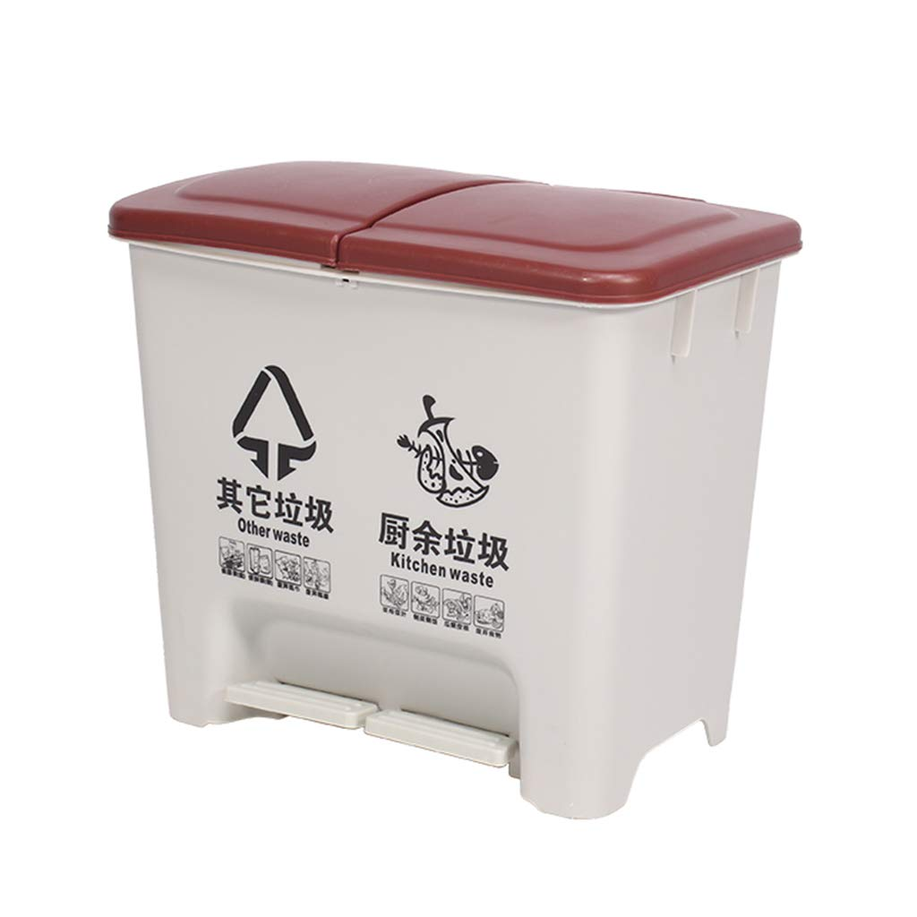 CSQ Pedal-Type Plastic Trash Can, 20L Indoor Sorting Trash Can, Office Hotel Home Kitchen Trash Can Indoor