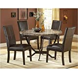Hillsdale Monaco Round Faux Marble 5-Piece Dining Set,-Chairs, Matte Espresso, Set Includes 1-Table and 4-Chairs