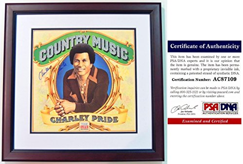 Charley Pride Signed - Autographed Country Music LP Record Album Cover with PSA/DNA Certificate of Authenticity (COA) MAHOGANY CUSTOM FRAME