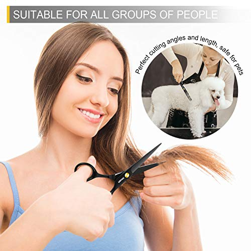 Peradix Kit Ciseaux Coiffure 9 PCS Ciseaux de Coupe de Cheveux Ciseaux Coiffure Professionnel en Acier Inoxydable Ciseaux Desepaississant et Cape Coiffeur Peigne Coupe Cheveux Clip