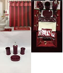 Amazon Com 22 Piece Bath Accessory Set Burgundy Red Bath