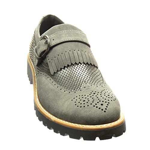 Angkorly - Scarpe da Moda Mocassini scarpa derby bi-materiale slip-on donna pelle di serpente frange fibbia Tacco a blocco 3 CM - Grigio