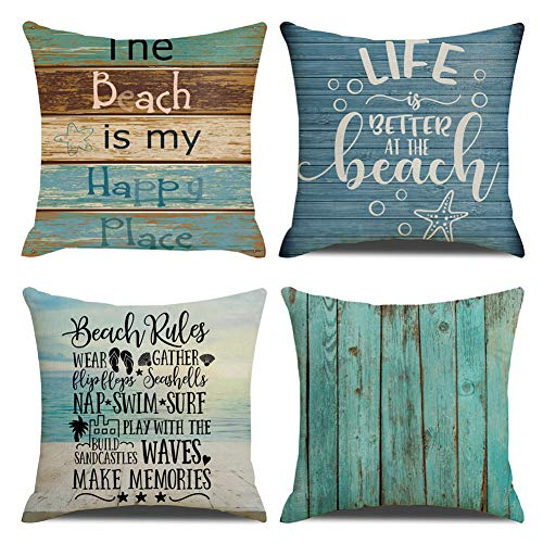 KACOPOL Vintage Retro Nautical Wood Pattern Beachy Blue Coastal Quotes Pillow Covers Cotton Linen Home Decor Throw Pillow Case Cushion Cover for Sea Beach Lover 18
