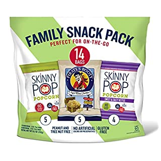 Skinny Pop Family Snack Pack: Skinnypop Original & Sweet & Salty Kettle Popped Popcorn, Pirate's Booty Aged White Cheddar Puffs, (42 Assorted Individual Bags of Skinny Pop Popcorn and Pirate's Booty)