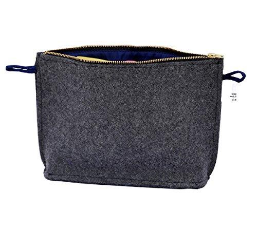 MOJOPANDA Woolen Felt Insert Purse Organizer Dark Grey Handbag Cosmetic Travel Bag for Women ()