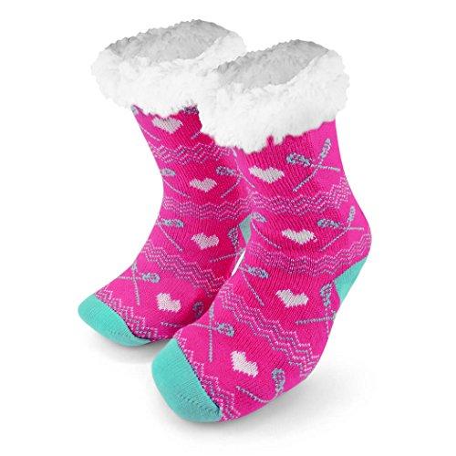 Lacrosse Slipper Sock | Sherpa Fleece Lined | Pink | One Size Fits Most