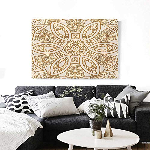 BlountDecor Beige Modern Canvas Painting Wall Art Ornate Ethnic Squared and Rounded Asian Eastern Texture with Dimensional Axis Artwork Art Stickers 24