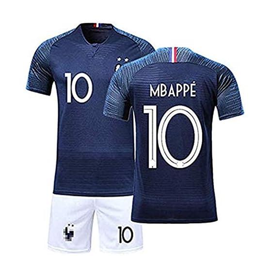 Yezelend Maillots de Football Enfants de France Soccer Jersey 2018 Coupe du Monde France 2 Étoiles Football T-Shirt et Short (MBAPPE-10-Bleu, t18(Taille 100-115cm))