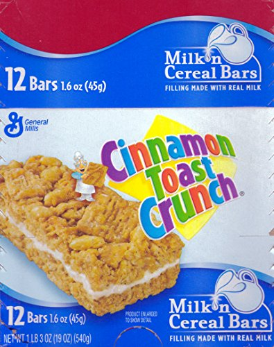 General Mills Cinnamon Toast Crunch Milk N' Cereal Bars, 12 Bars 1.6 oz - NET WT 1 lbs   (19 Ounce )