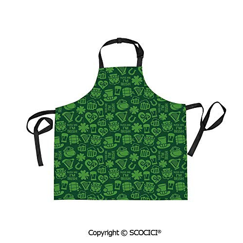 SCOCICI Unisex Waterproof and Dirty Resistant Printing Kitchen Apron,Me Im Irish Humorous Phrase with Ale Shamrocks Hats Traditional Symbols Decorative,for Cooking Baking Gardening