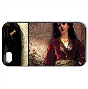 -2- - Case Cover for iPhone 4 and 4s (Ancient Series, Watercolor style, Black)