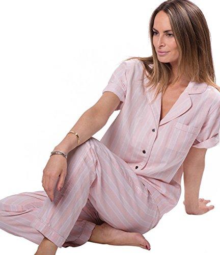 Naked Women's Double Gauze Cotton Pajama Set, Belair Blush Pin Stripe, Extra Small by Naked