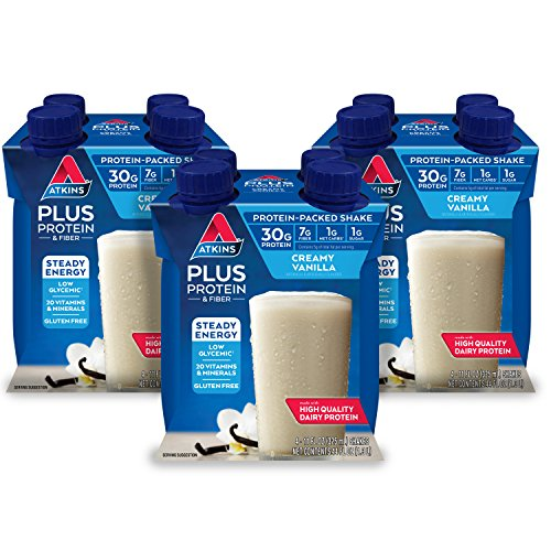 Atkins PLUS Protein & Fiber Shake, Vanilla, Keto Friendly, 12 Count (Pack of 3) ()