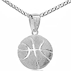 Liyali Fashion Boys Basketball Pendant Necklace Stainless Steel Necklace Chain Sports Necklace 23 Inches White K