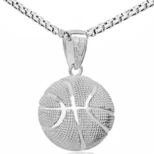 LIYALI Fashion Boys Basketball Pendant Necklace Stainless Steel Necklace Chain Sports Necklace 23 Inches (White K)