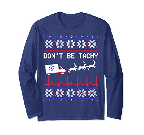 Unisex Don't Be Tachy Gift Long Sleeve for EMT Cardiac Nurse Shirt Medium Navy - Mens Staff Lab Coat